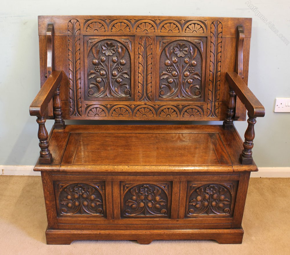 Carved oak monks bench hall seat box settle antiques atlas