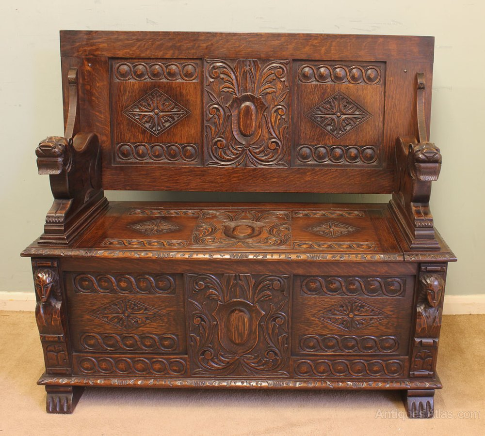 Carved oak monks bench hall seat settle antiques atlas