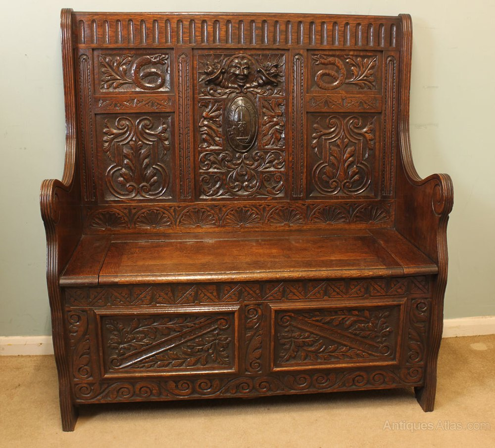 Carved oak settle monks bench antiques atlas