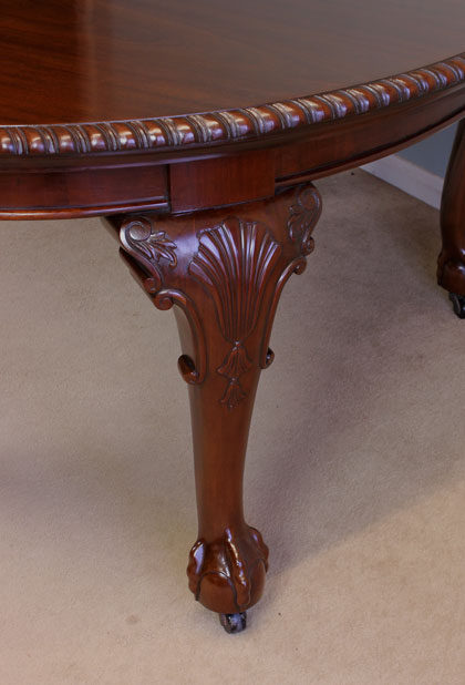 Large Extending Dining Table Chippendale Stlye Antiques