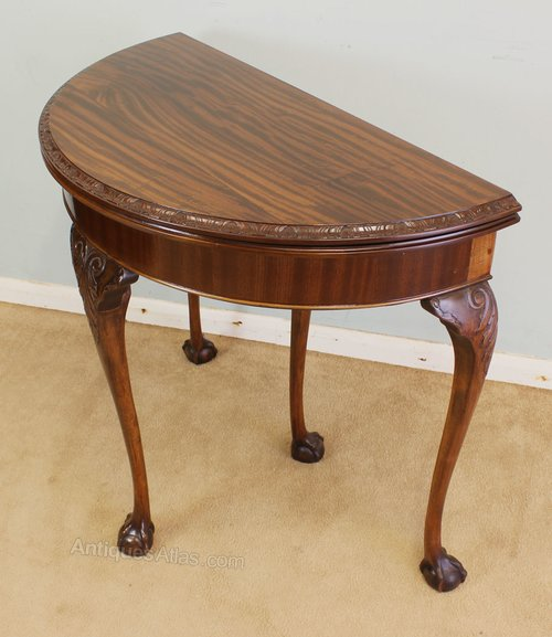mahogany half moon side table card table antiques atlas. Black Bedroom Furniture Sets. Home Design Ideas