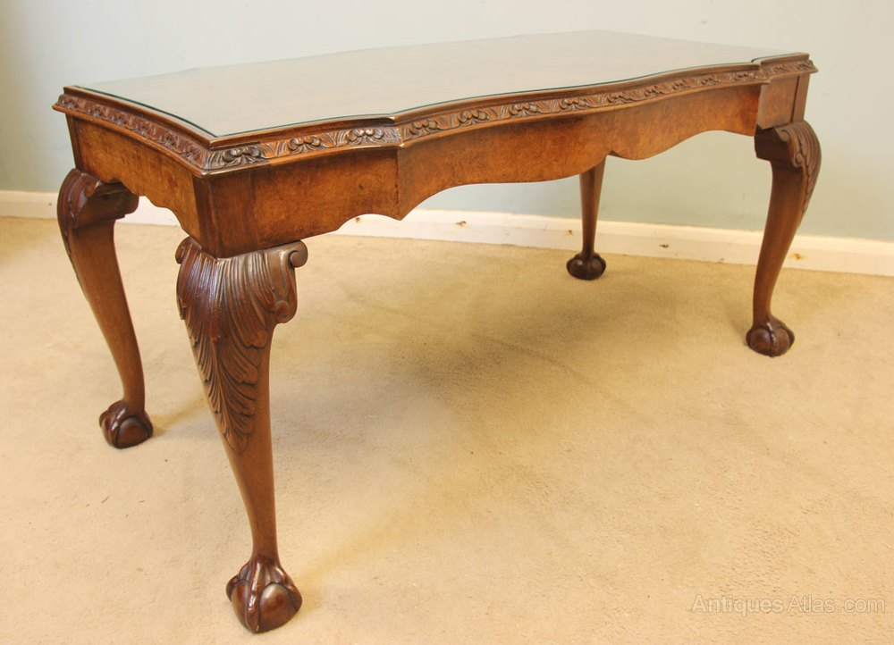 Queen Anne Style Burr Walnut Coffee Table Antiques Atlas