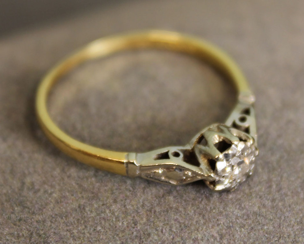 Antiques Atlas Vintage 9ct Gold Ring Small Single Diamond