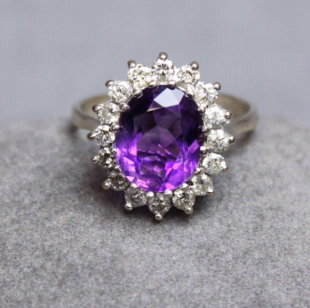 Antiques Atlas Vintage Amethyst Amp Diamond Ring