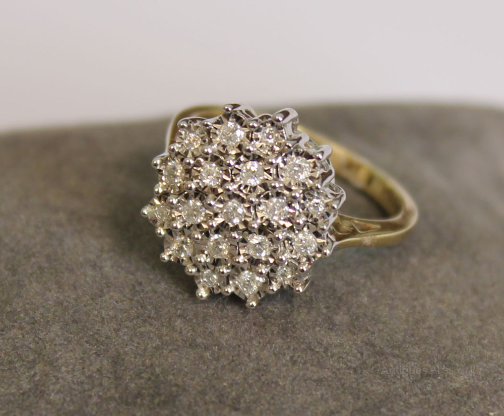 Carat Gold Cluster Ring