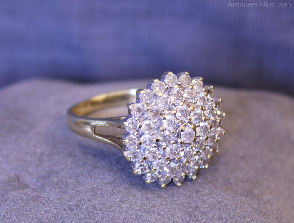 antiques atlas vintage diamond cluster ring