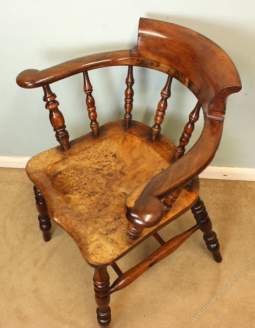 Yew wood captains smokers bow windsor chair antiques atlas