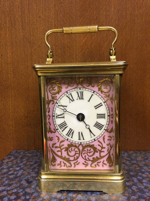 C1885 French Brass and porcelain carriage clock