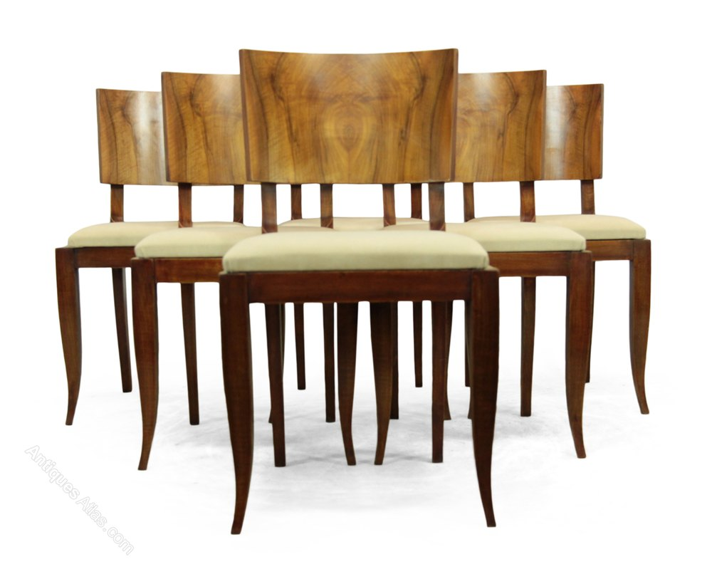Art deco walnut dining chairs french c1930 antiques atlas for Art dining room furniture