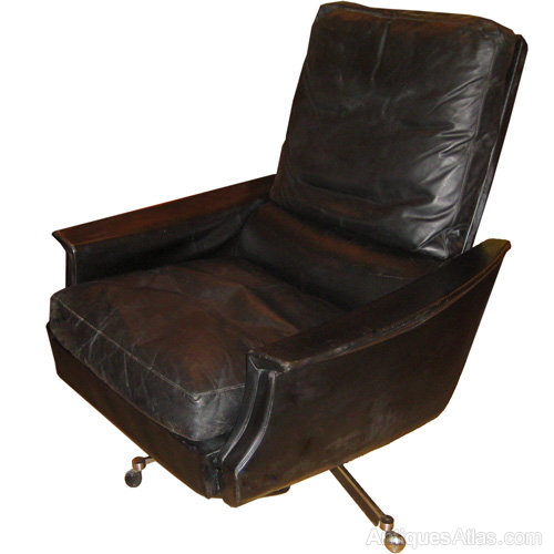 antiques atlas black leather danish reclining swivel chair c1960