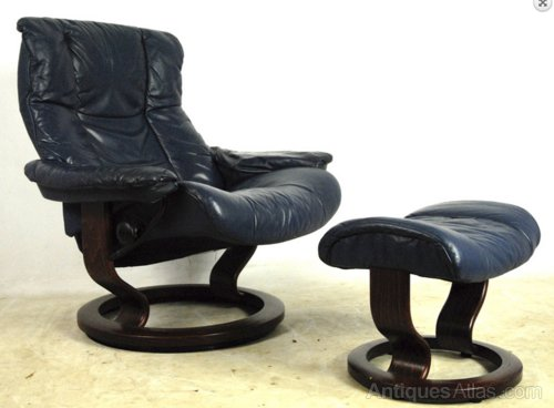 Blue Leather Ekornes Stressless Chair And Stool Antiques Atlas