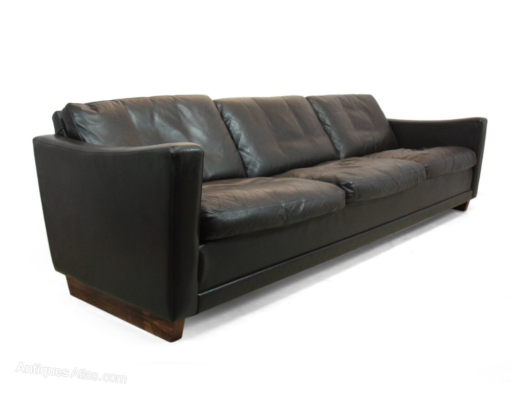 Antiques Atlas Danish Dark Brown Leather Sofa C1960