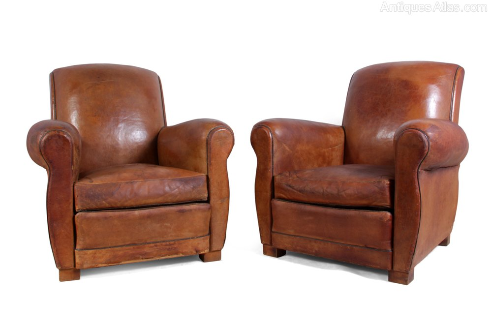 Antiques Atlas Leather Club Chairs French C1940