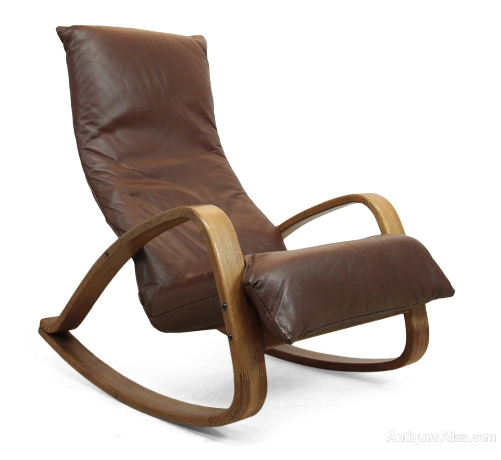 Antiques Atlas Mid Century Leather Rocking Chair By