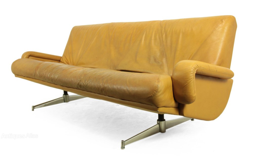 Antiques Atlas Mid Century Retro Leather Sofa C1960