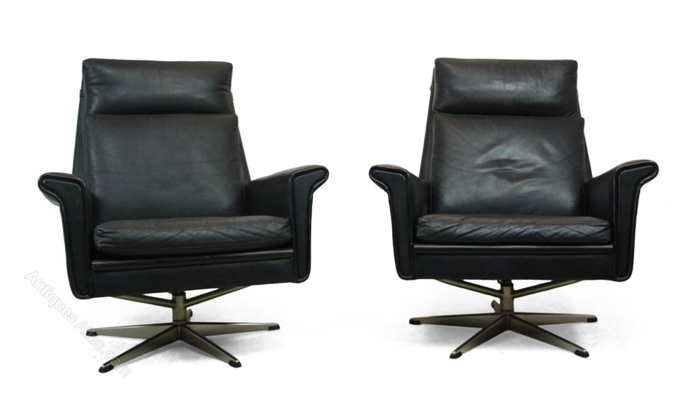 antiques atlas pair of black leather swivel chairs danish c1960