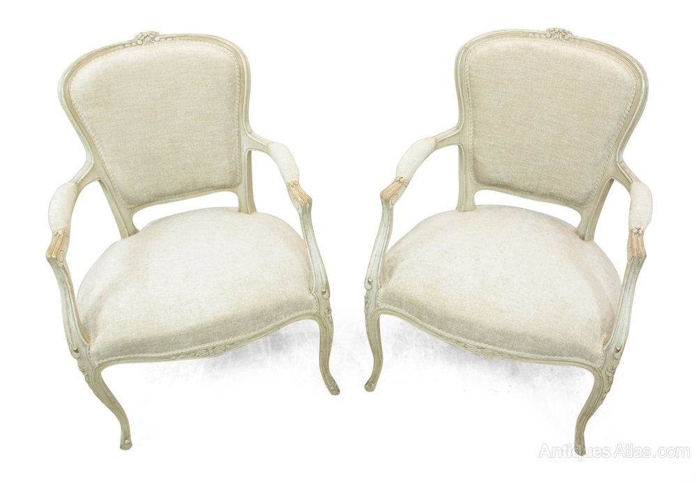 Pair of louis xv style painted chairs c1880 antiques atlas - Louis th chairs ...
