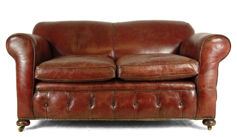 Red Leather Club Sofa C1930 Antiques Atlas