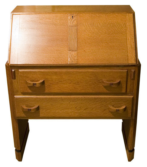 Art deco golden oak bureau antiques atlas for Deco bureau