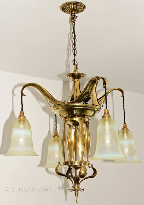Antiques Atlas Brass Amp Vaseline Glass Ceiling Light