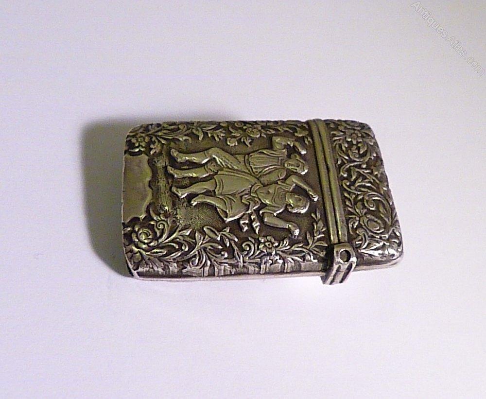 Silver Wedding Gift: Antique Silver Wedding Gifts Vesta Case 1800s