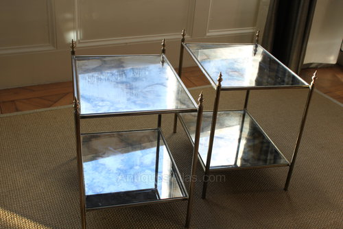 Antiqued Mirrored Side Table images