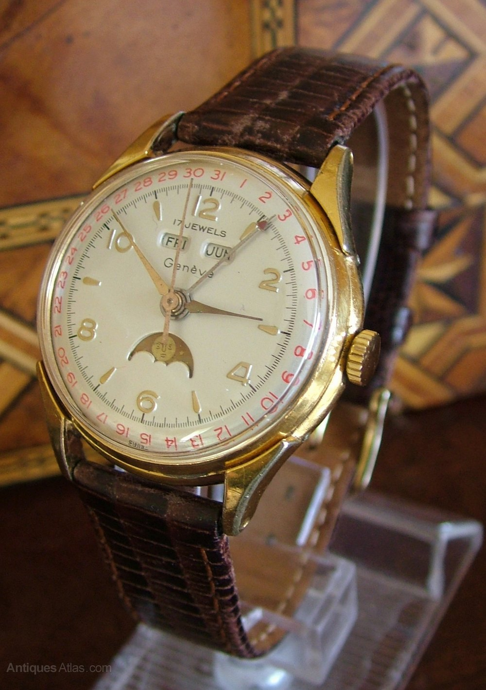 What Is Marsala Wine: A Gents 1950s Cornavin Triple Date Wrist
