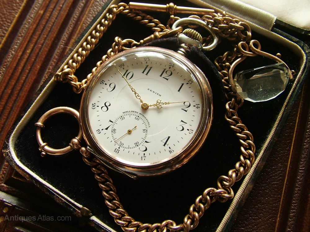 Antiques Atlas - An Antique Zenith Pocket Watch, Chain And Box