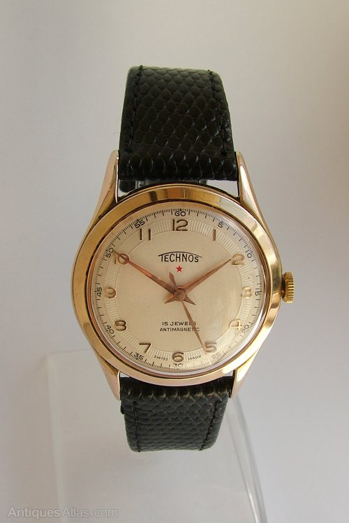 Antiques atlas gents 1950s technos hand winding wrist watch for Technos watches