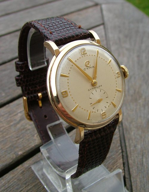 antiques atlas gents 9ct gold cyma wrist 1955
