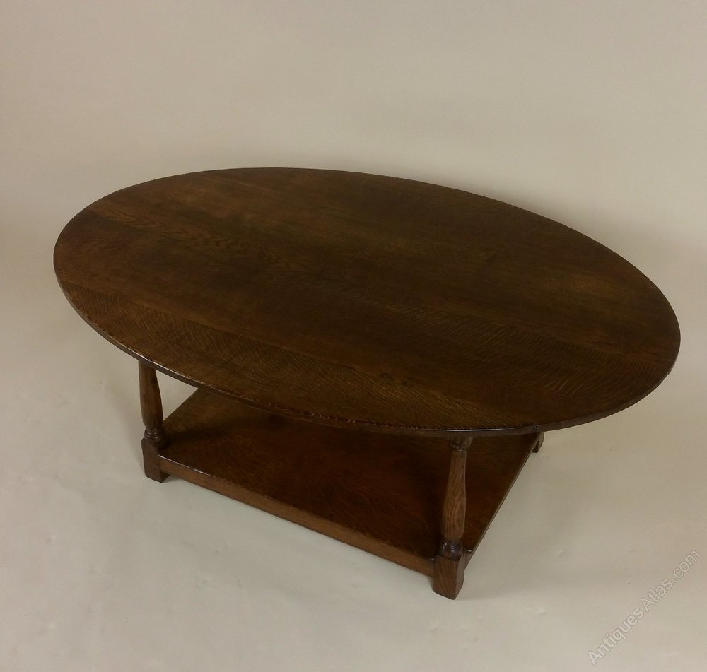 Edwardian Oak Oval Coffee Table Antiques Atlas