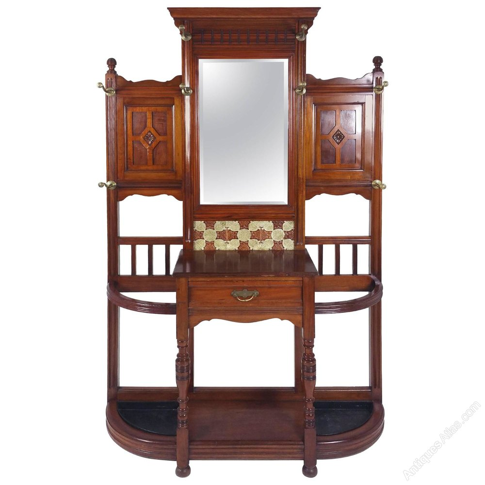 Large victorian walnut mirror backed hall stand antiques for Victorian mirror