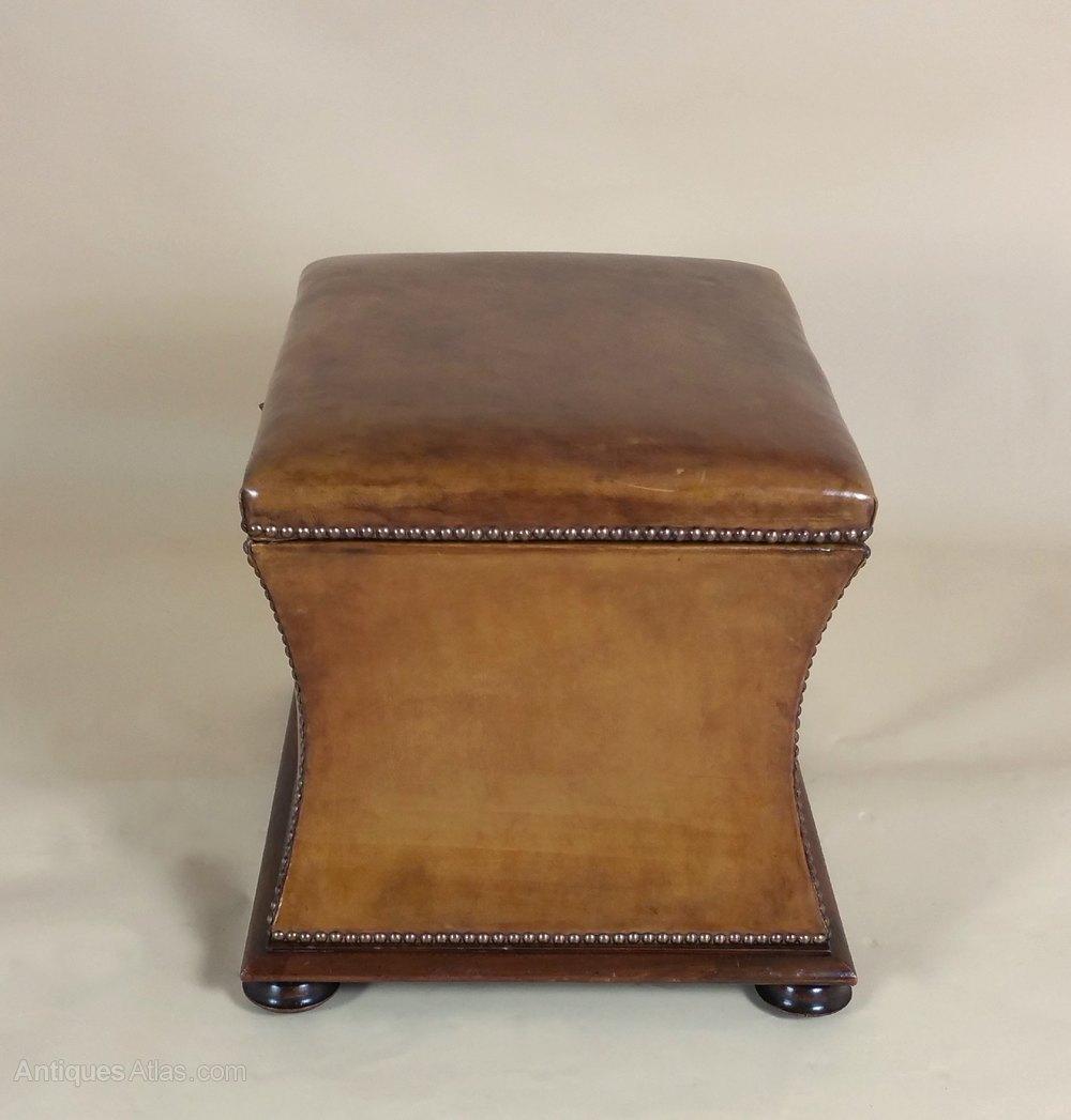 Ottomans Ornate Mahogany Ottoman: Victorian Mahogany Leather Upholstered Ottoman