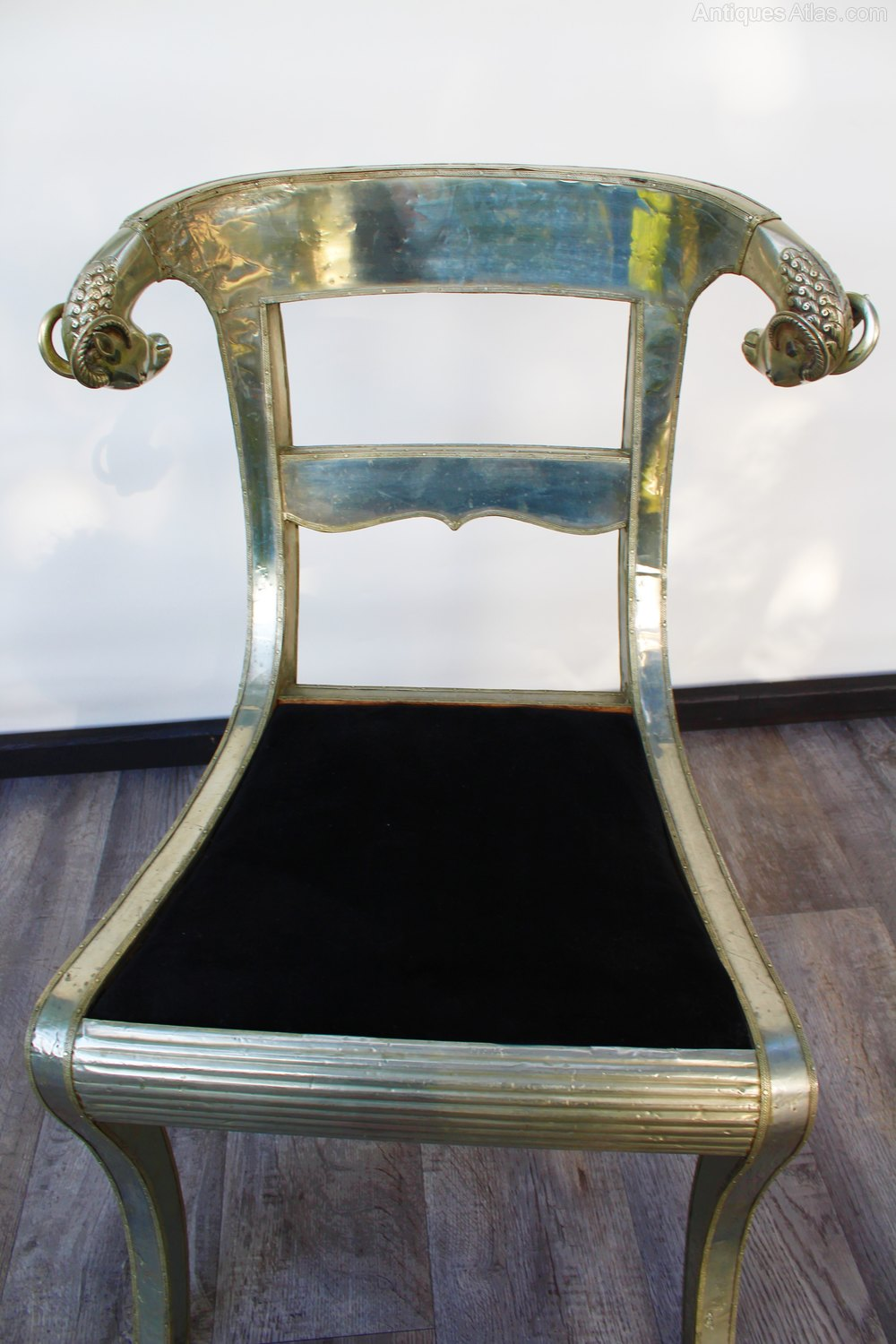 Metal Anglo Indian Chair With Rams Head Finials Antiques