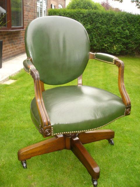 antique walnut leather desk chair office chair antiques atlas