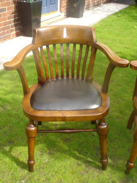 Pair Antique Oak Captain S Arm Chairs Smokers Bow