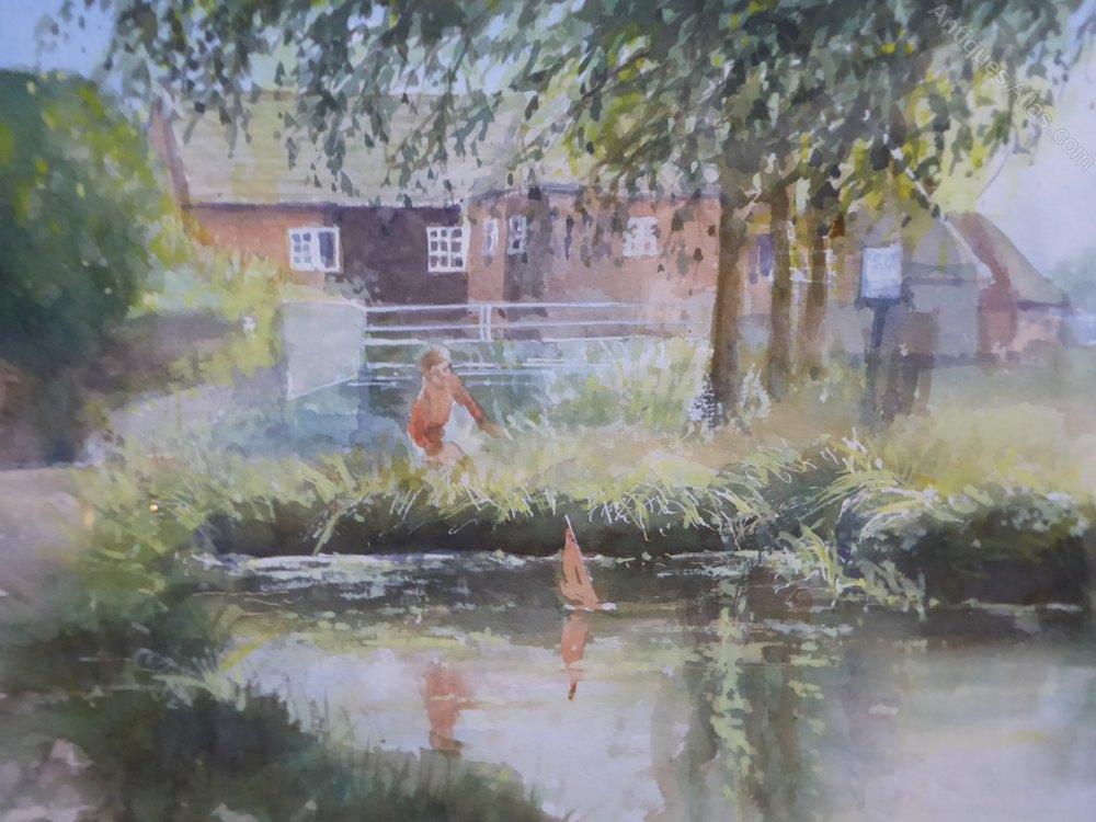 Antiques atlas watercolour boy by the pond artist henry for Pond dealers