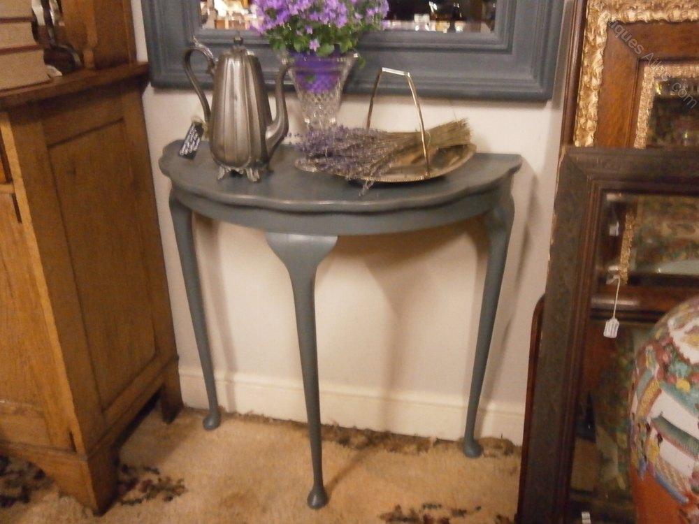 Antiques atlas large mirror demi lune table for Table cuisine demi lune