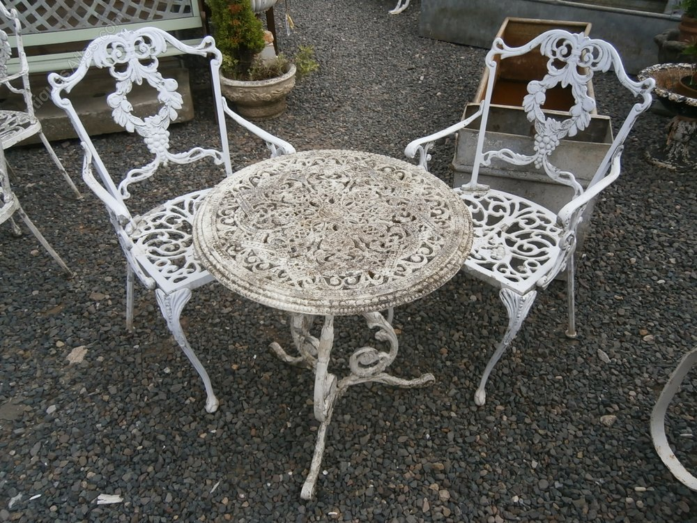 Antiques atlas metal garden table and 2 chairs for Metal garden table and chairs