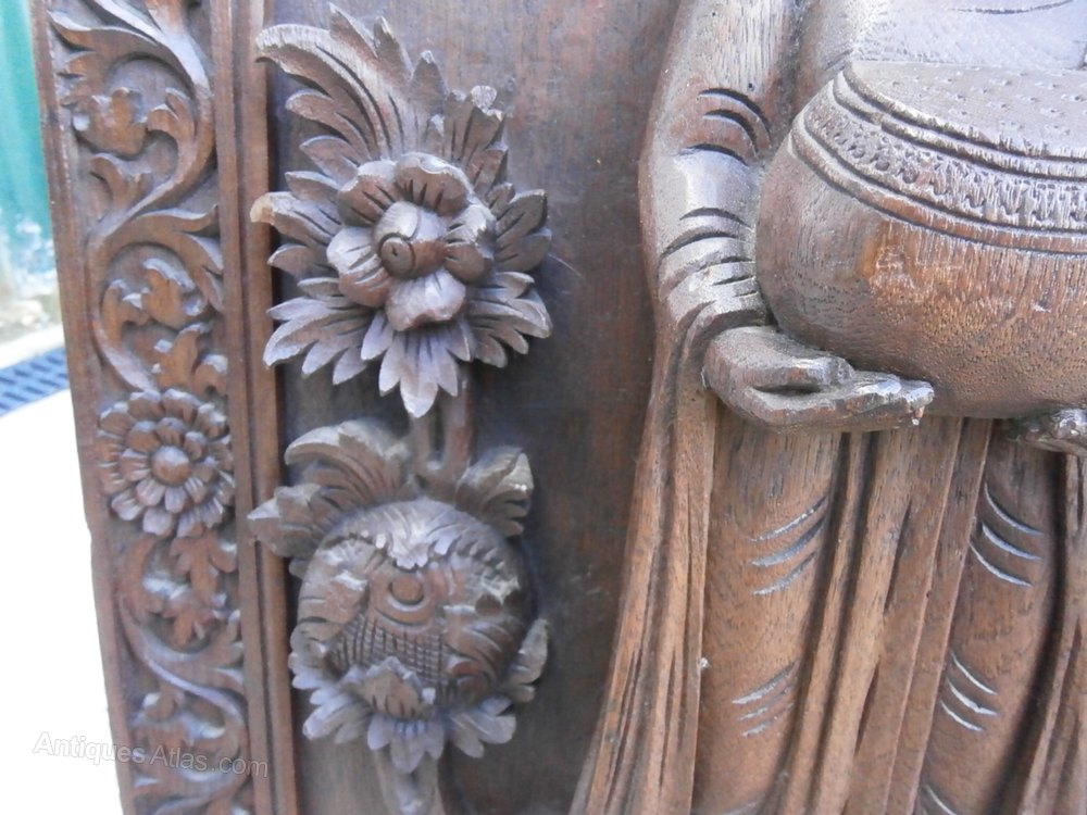 Antiques atlas oriental carved mahogany panel