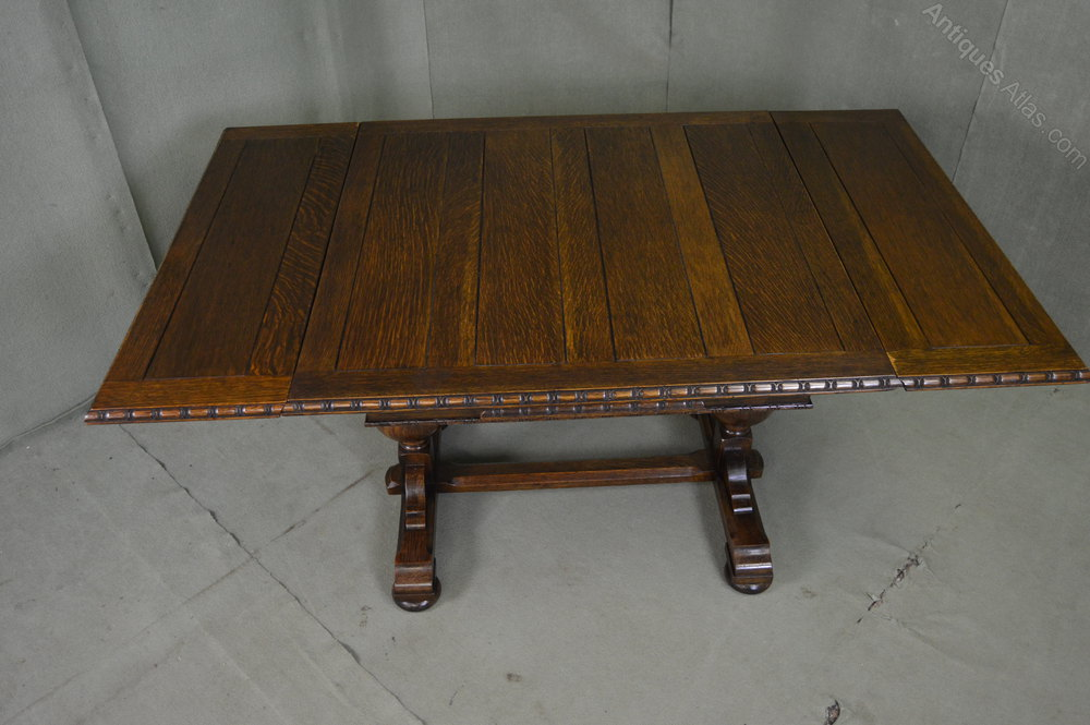 Solid oak refectory drawer leaf dining table antiques atlas for Solid oak dining table with leaf