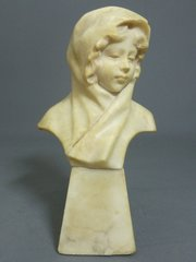 Alabaster Bust of a Girl in a