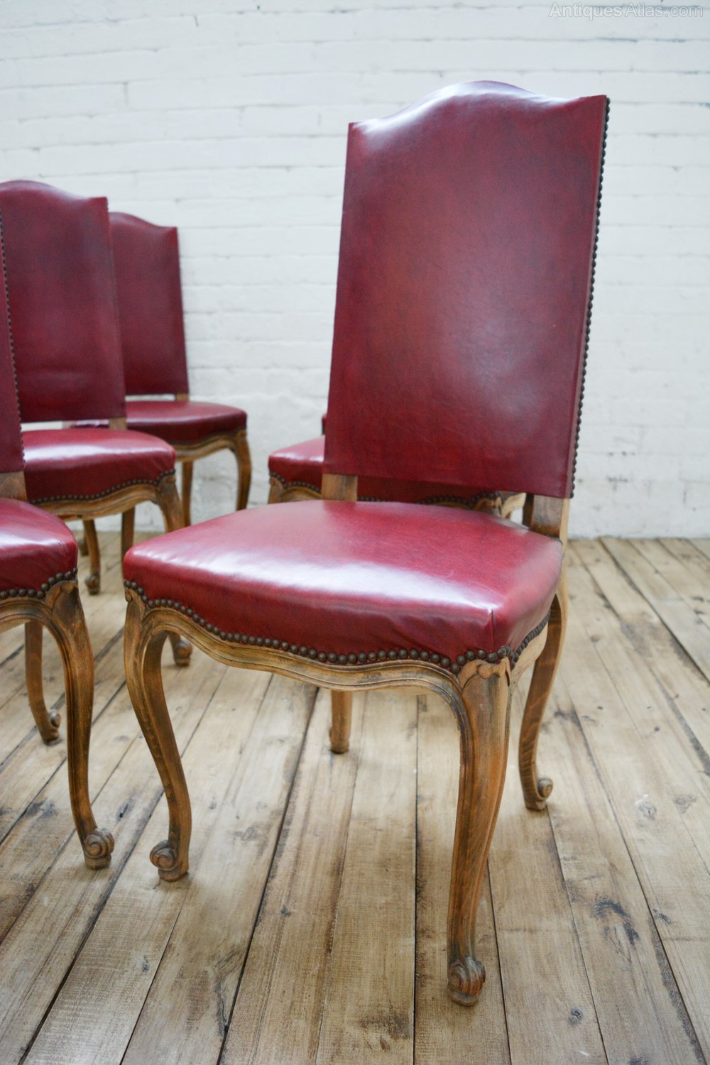 6 French High Back Faux Leather Dining Chairs Antiques Atlas