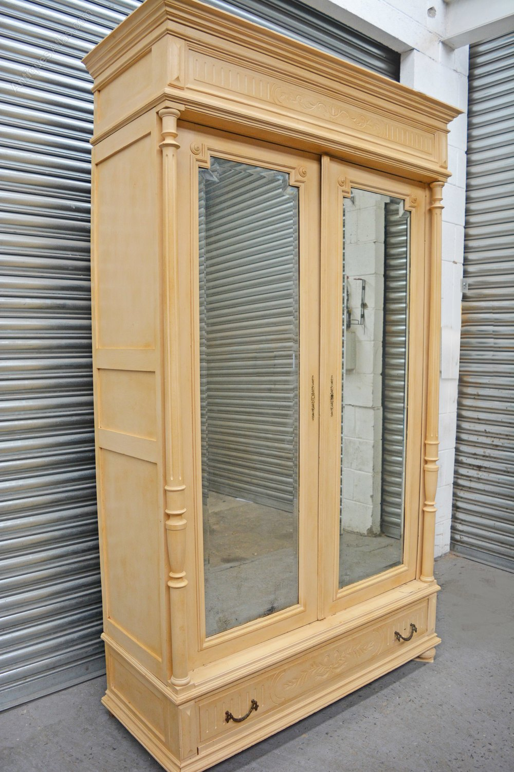 Large antique 2 door painted french armoire antiques atlas for Large french doors