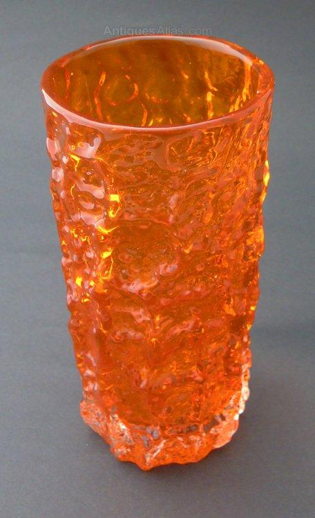 Antiques Atlas Whitefriars Tangerine Medium Quot Bark Quot Glass Vase