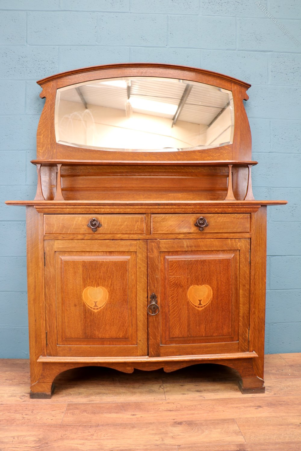 Arts And Crafts Oak Sideboard With Mirror Antiques Atlas