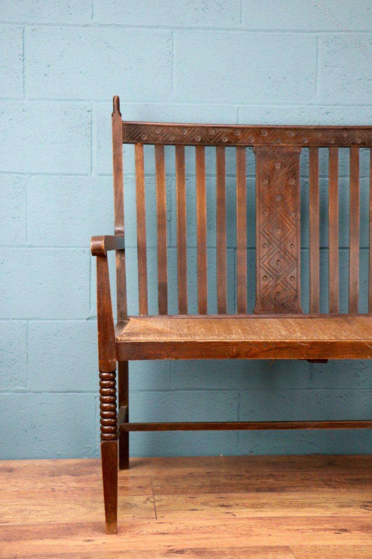 arts and crafts oak sofa seat antiques atlas. Black Bedroom Furniture Sets. Home Design Ideas