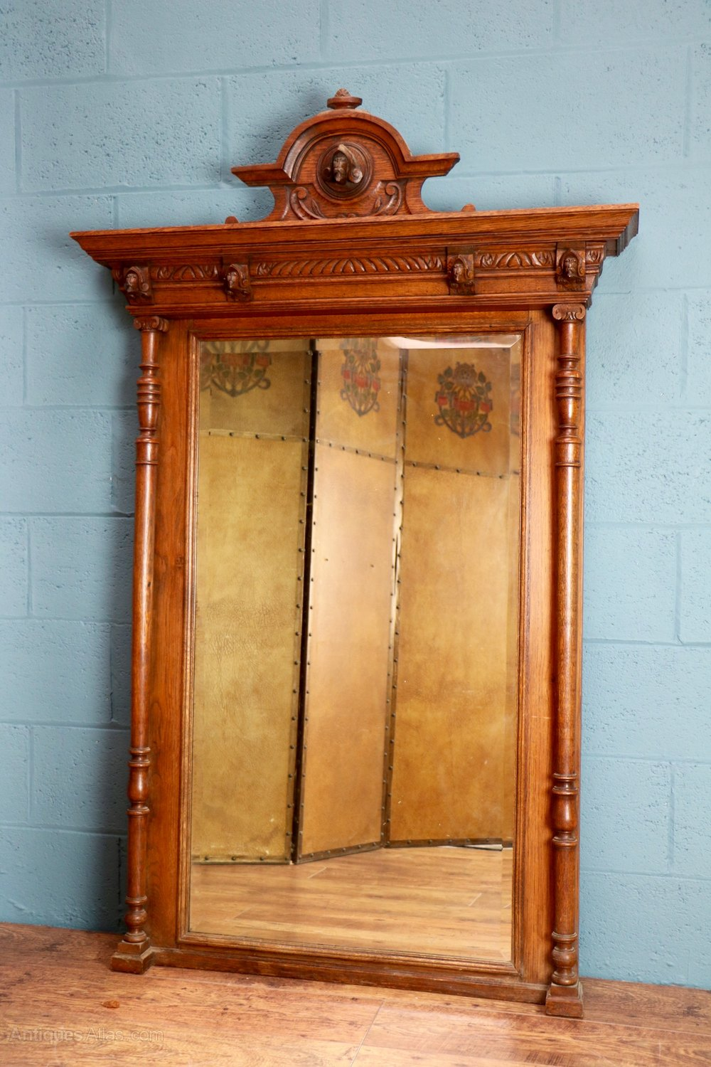 Antiques atlas decorative carved oak wall mirror for Antique wall mirrors