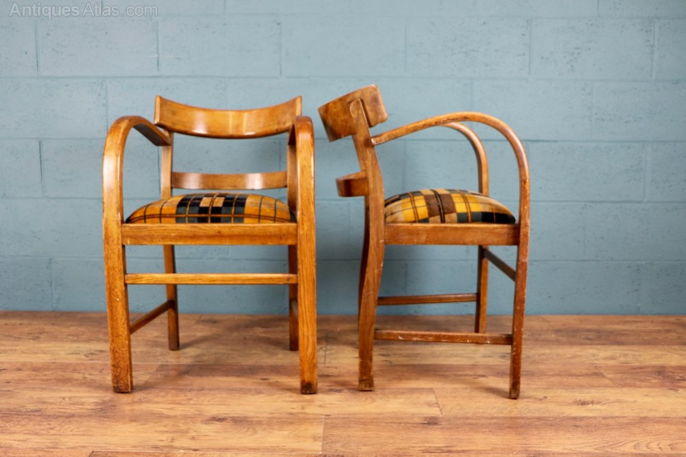 Pair Of 1930s Oak Bentwood Chairs Antiques Atlas
