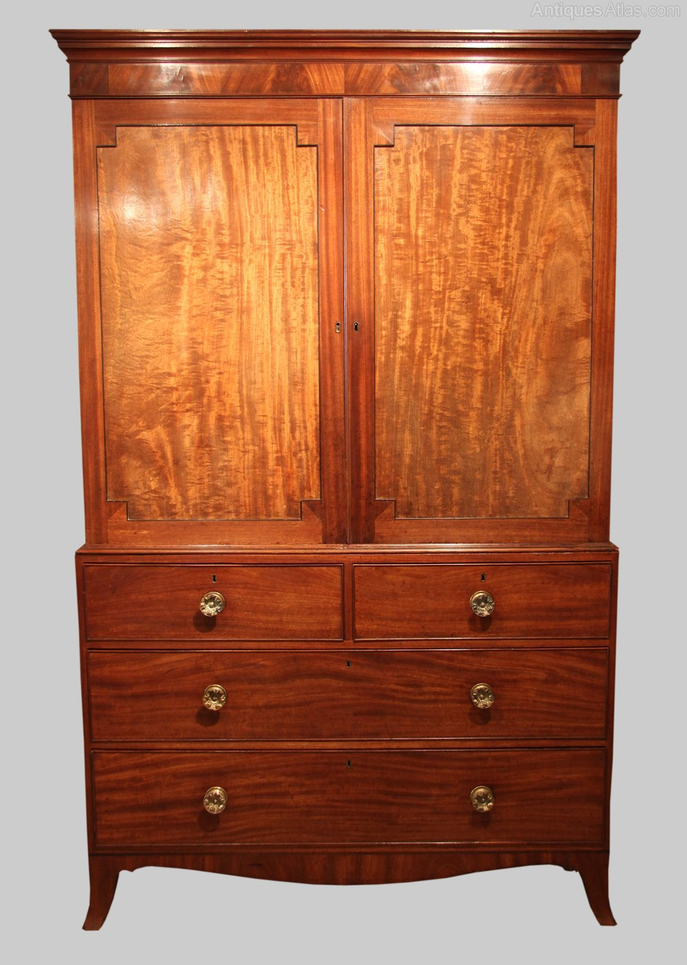 George iii mahogany linen press circa 1800 antiques atlas for Linen press